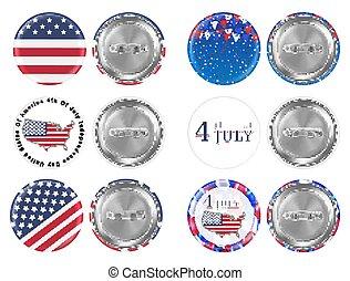 acciaio, bandiera, spilla, tema, 4 luglio, america, rotondo