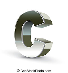 acciaio, c, argento, lettera, 3d