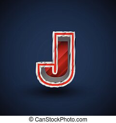 acciaio, carattere, vettore, font, rosso, 3d