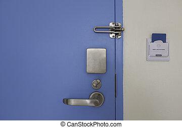 acciaio, controllo, set, serratura porta, accesso, inossidabile, scheda