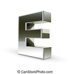 acciaio, e, argento, lettera, 3d