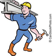 acciaio, i-beam, lavoratore, costruzione, portare, cartone animato
