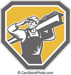 acciaio, i-beam, portante, lavoratore, costruzione, retro