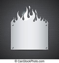acciaio, inossidabile, fiamme, fuoco, vettore