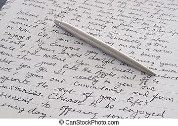 acciaio, inossidabile, posa, penna, scritto, pagina