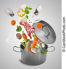 acciaio, inossidabile, verdura, pot., fresco, cadere
