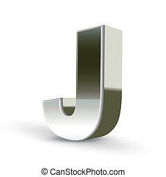acciaio, j, argento, lettera, 3d