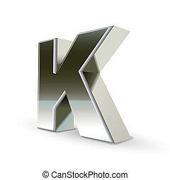 acciaio, k, argento, lettera, 3d
