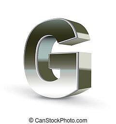 acciaio, lettera, argento, g, 3d