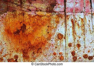 acciaio, ossidato, grunge, struttura, vernice, arrugginito, ferro, invecchiato