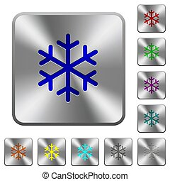 acciaio, quadrato, arrotondato, bottoni, singolo, fiocco di neve