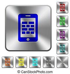 acciaio, quadrato, arrotondato, firewall, bottoni, smartphone