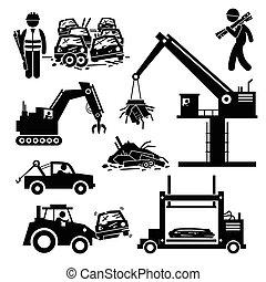 acciaio, rifiuto, automobile, ferraglia, junkyard