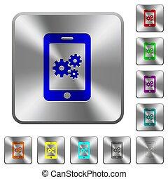 acciaio, smartphone, arrotondato, regolazioni, bottoni, quadrato
