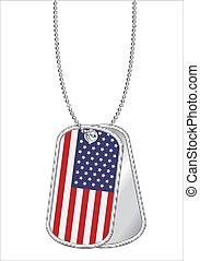 acciaio, unito, cane, stati, bandiera, etichetta, america