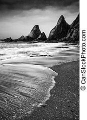 accidentato, linea costiera, paesaggio, pietre, marina, dentellato