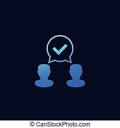 accordo, consenso, icona, vettore