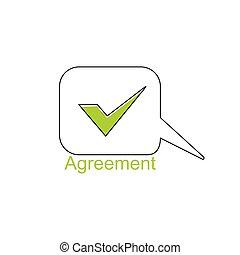 accordo, discorso, simbolo, vettore
