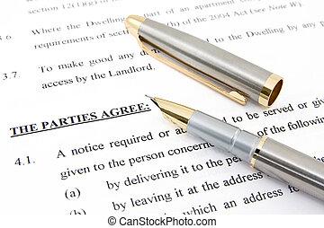 accordo, penna, contratto affitto
