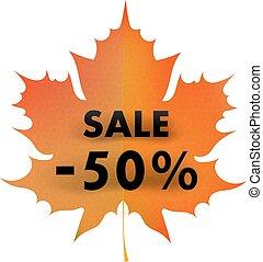 acero, 50%, fondo, autunno, bianco rosso, foglia, concetto, sale.