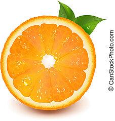 acqua, arancia, goccia, foglia, mezzo