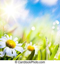acqua, astratto, cielo, fondo, arte, estate, sole erba, fiore, gocce