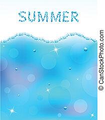 acqua, astratto, vettore, bolle, onda