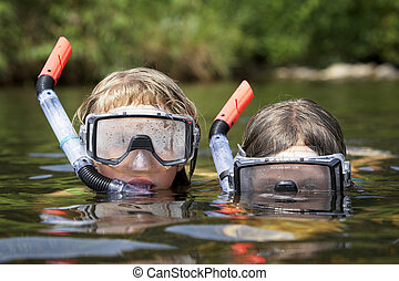 acqua, bambini, due, gioco