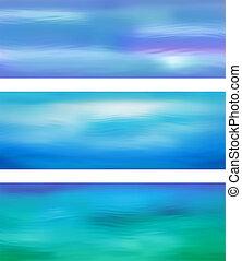 acqua blu, astratto, vettore, bandiera