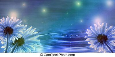 acqua blu, fiori, fondo, onde