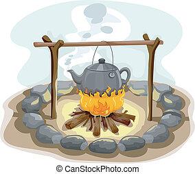 acqua, bollitura, incendio campo