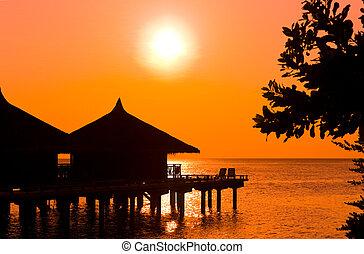 acqua, bungalow, tramonto