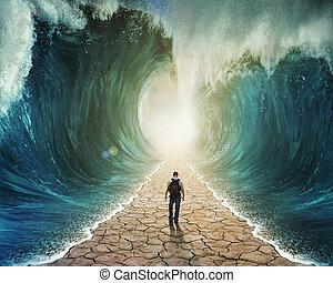 acqua, camminare, attraverso
