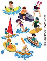 acqua, cartone animato, icona, sport