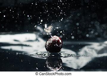 acqua, ciliegia, cadere, maturo