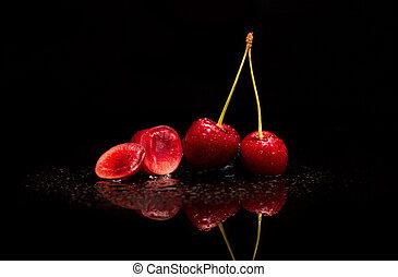 acqua, ciliegia, gocce