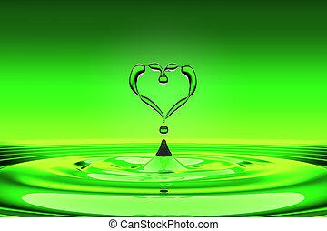 acqua, cuore, gocce, verde, modellato
