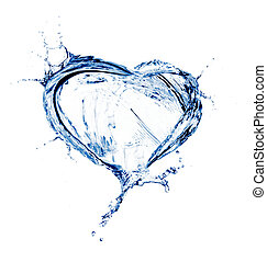 acqua, cuore, schizzo