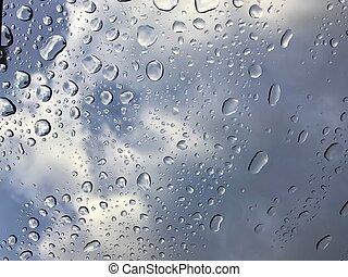 acqua, finestra, gocce, secondo, scudo, pioggia, automobile, blocca il funzionamento