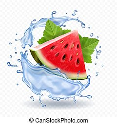 acqua frutta, realistico, schizzo, anguria, icona