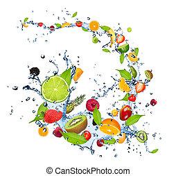 acqua, frutte, schizzo, fresco, fondo, cadere, isolato, bianco