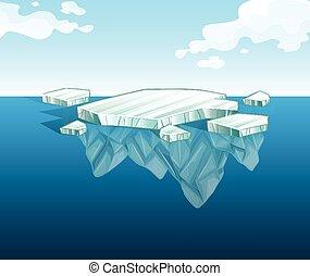 acqua, iceberg, magro