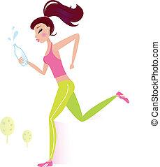 acqua, o, donna, jogging, bottiglia, sano, correndo