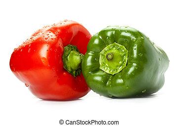 acqua, peperoni, gocce, verde rosso