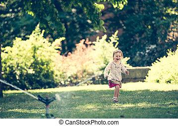 acqua, piccola ragazza, gioco