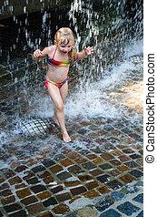acqua, ragazza, gioco