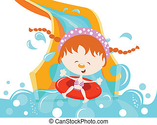 acqua, ragazza, godere, diapositiva