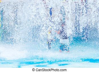 acqua, ragazzo, parco, gioco