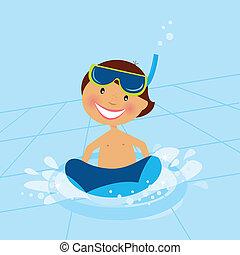 acqua, ragazzo, piccolo, stagno, nuoto