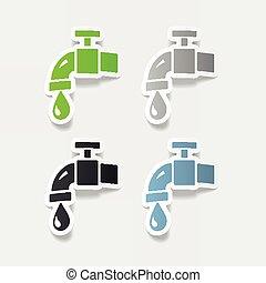 acqua, realistico, element:, disegno, rubinetto